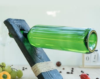 Handmade wooden gravitational wine rack