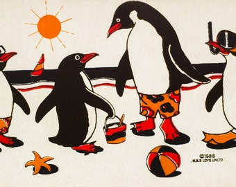 Penguins at the Beach Vintage Iron On Heat Transfer
