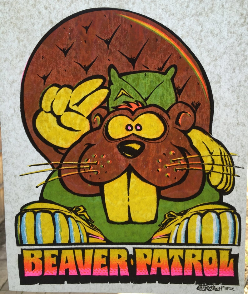 e3853f083 Beaver Patrol Vintage 1973 Roach Incorporated Iron On Heat Transfer