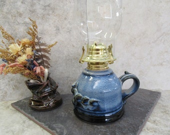 lamp, hurricane lamp, oil lantern, black & blue lamp, kerosene lamp, oil lamp, stoneware, made in Montana, romantic light