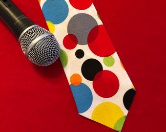 Jumbo balls multi-colored tie / novelty tie / unique tie / kidshow performer tie / men's necktie / fun tie / magician / ventriloquist /