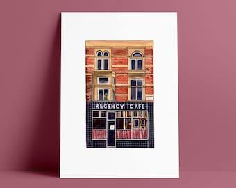London Prints: Regency Cafe // Westminster Art Print // Illustrated Wall Art