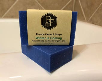 Winter is Coming Bar Soap - Natural & Made with Organic Oils - Game of Thrones - All Natural - Vegan - Shea Butter - Handcrafted