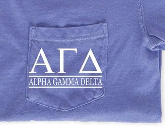 69b4c8eb483b42 Alpha Gamma Delta Block Letters T-Shirt