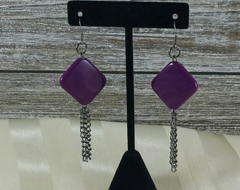 Purple Dimond shape tassle earrings