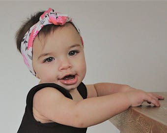 Pink Water color floral knot headband Baby girl headband Top knot Turban headband Coming home outfit Boho Mommy and me matching