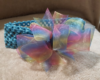 Embellished Blue, Pink, and Yellow Headband