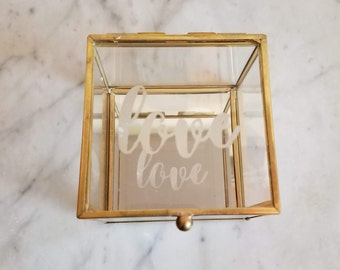 Love Etched Glass Ring Box with Mirrored Bottom/Brass Trim