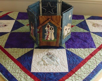 Nativity Table Topper Pattern, for Embroidery or Punch Needle Quilt