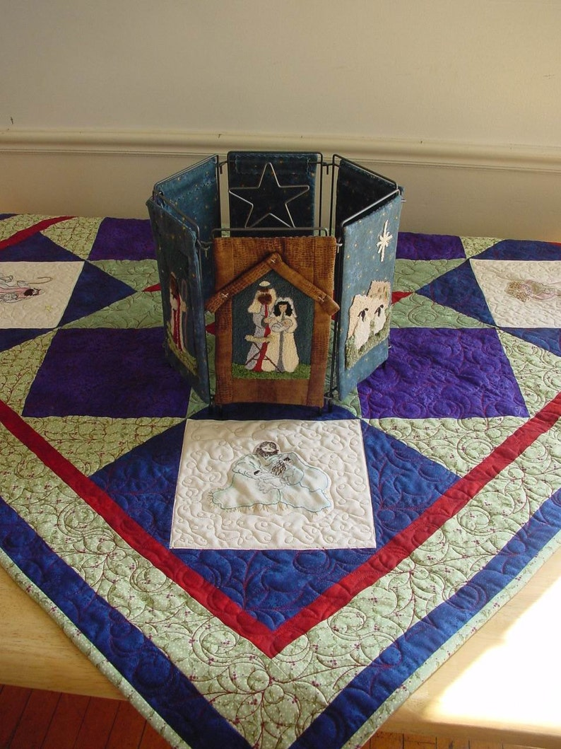 Nativity Table Topper Pattern for Embroidery or Punch Needle image 0