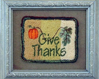 Digital Download, Punch Needle Pattern, 422 Give Thanks, Autumn Design