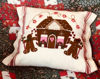 Cookie Cottage Wool on Cotton Pillow, Paper Pattern, Button Kit, Wool kit with Pattern