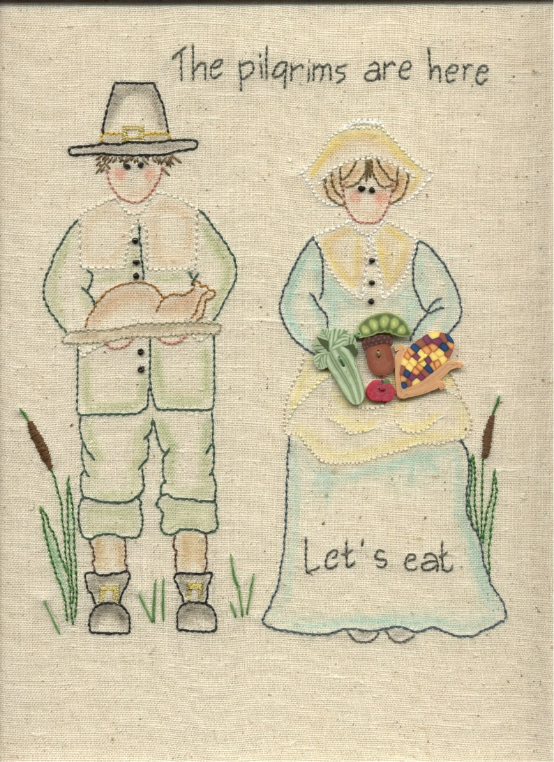 Hand Embroidery Pattern Pilgrims are Here Digital Download