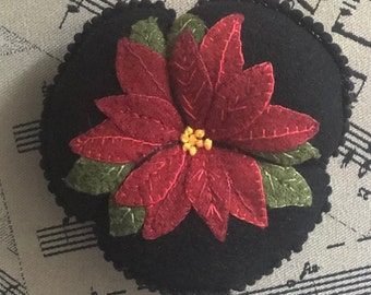 Poinsettia Pincushion, Positively Pretty Pincushion, Release Date September 8, 2021, Paper Pattern or Wool Kit