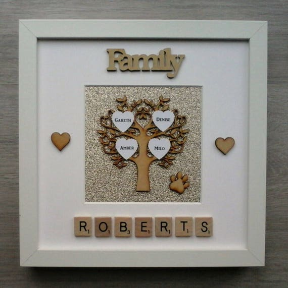 Fathers Day Anniversary Personalised Family Names Scrabble Tile photo frame