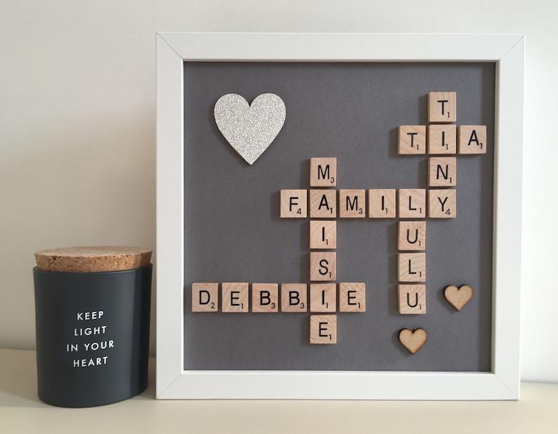 Wedding Square Family Scrabble Art Frame Gift Love Family Christmas Glitter