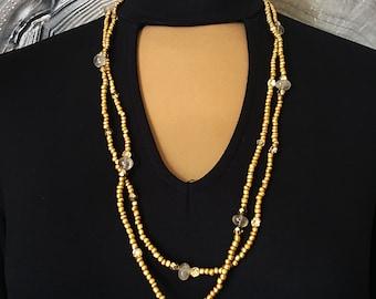 Matte Gold and Crystal Quartz Wrap Necklace