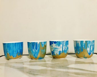 Blue & Gold flow tea cups