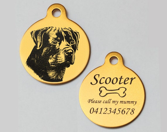 Australian Bull Terrier Dog Black Laser Engraved Aluminium Pet Dog ID Tag 31mm Round /& Free Ring