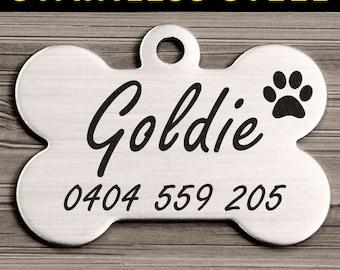 Steel Bone Brushed Steel Pet Dog ID Tag Personalized Engraved & Free Slip Ring <STEEL_BONE>