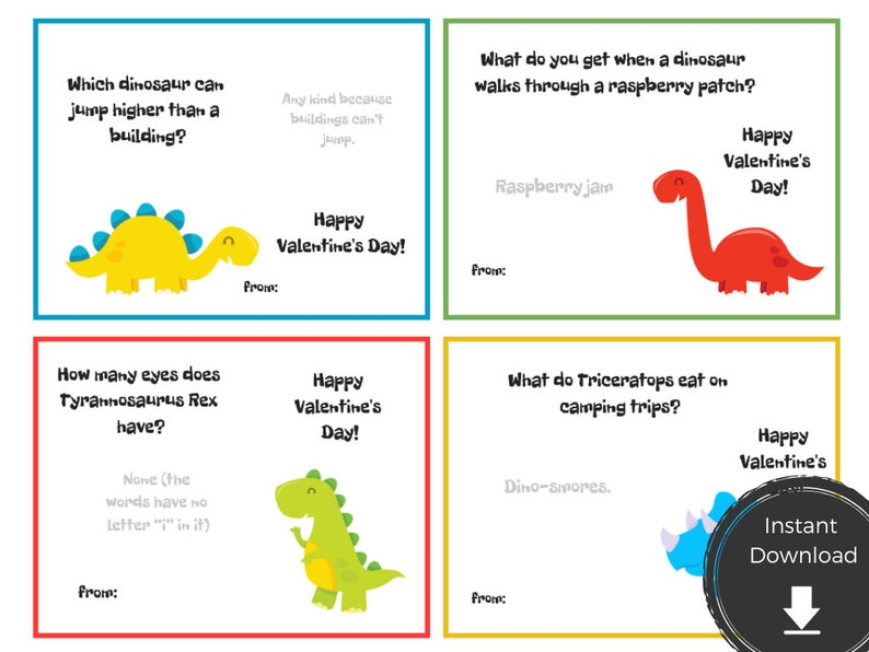 photograph regarding Printable Dinosaur known as Printable Dinosaur Valentine Card with Jokes - Amusing Dino Playing cards for Youngsters - Boys Valentine Playing cards Printable - Instantaneous Obtain PDF V-Working day T rex