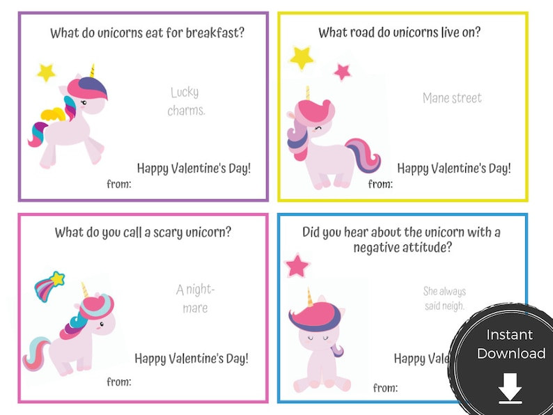 photograph about Printable Jokes called Unicorn Valentine Printable with Jokes - Fast Obtain Women Valentines Printable Card - Amusing V-Working day PDF for Small children Print Minimize College or university Cl