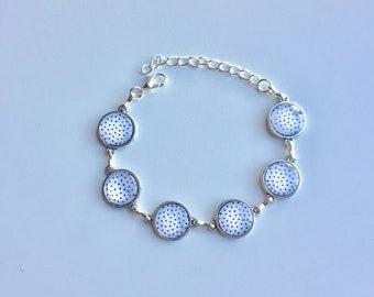 Bracelet silver dot black white cabochons