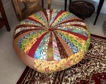 Unfilled 30 Inch (76Cm) Diameter Moroccan Floor Cushion, Made in Australia, Boho, Pouf, Pouffe, Floor Seating, Meditation Cushion, Patchwork