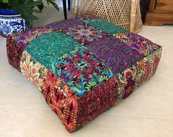 NEW Unfilled 'Kaleidoscope' Floor Cushion Cover, Made in Australia, Seating, Pouf, Pouffe, Boho, Bohemian, Gypsy, Eclectic, Bright, Funky