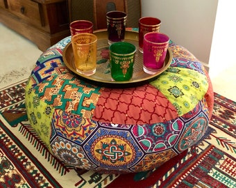 Unfilled 20 Inch Moroccan Style Floor Cushion Cover, Made in Australia, Ottoman, Meditation Cushion, Pouffe, Boho, Hippy, Pouf, Eclectic