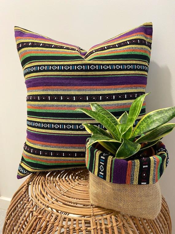 FREE SPIRIT PURPLE Cushion Cover  Boho Chic  Bohemian  Throw Pillow  Ethnic  Gypsy  Hippy Chic  Eclectic  Rasta  Tribal  Colourful