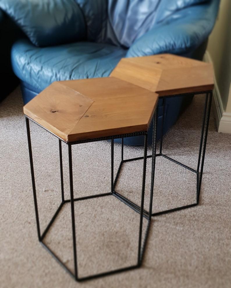 Table Basse Table D Appoint Bout De Canape Forme Hexagonale Bloc De Bois Culbutage De Recuperation