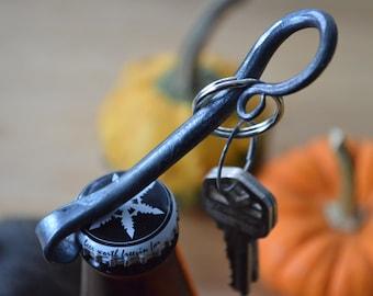 Bottle Opener, Key Chain, Blacksmith Made, Hand Forged