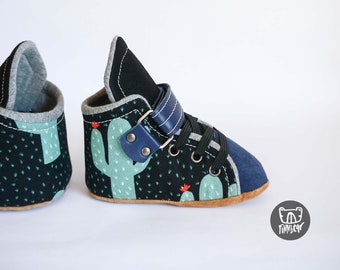 7e23327d51881 Velcro Soft Sole Baby and Toddler Sneakers | Navy Cactus | Leather Sole &  Details | Stay on Easy on