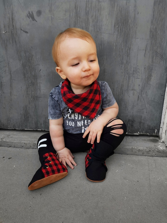 Lace Up Boxing Boots with Leather Toe Cap Watermelon Hightop Soft Sole Baby Toddler Shoes