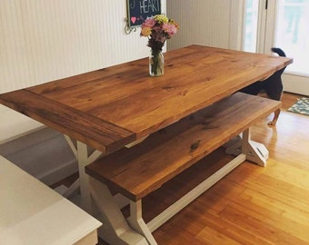 Merveilleux Large Farmhouse Table   Trestle Table   Rustic Table   Harvest Table   Farmhouse  Bench   Farmhouse Kitchen Table   Dining Table