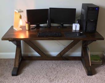 Rustic Wooden Desk | Wood Farmhouse Desk | Office Desk | Cantilevered Desk  | Dark Wood Desk | Gifts For Him | Work Desk | Solid Wood Desk