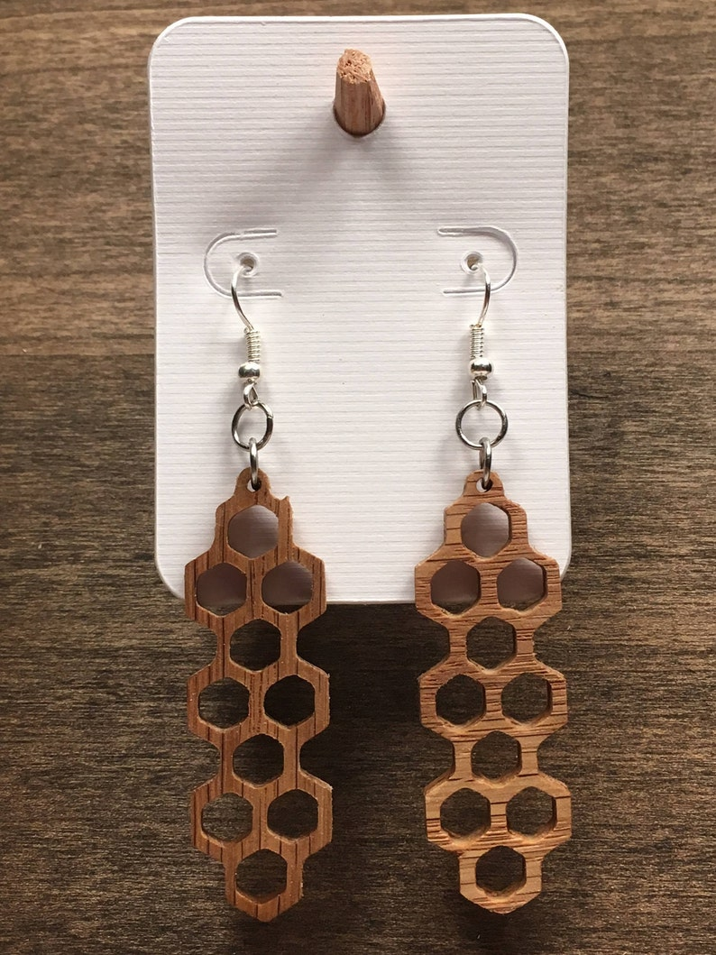 Lightweight Dangle Earrings Made from Solid Wood