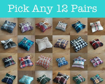 Hand warmers Bundle - 12 pairs, Stocking Stuffers, Organic Rice Hand warmers, Microwaveable Hand warmers, Plaid Flannel Pocket Heating Pads