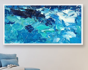 Ocean Art Oil Painting Blue Art Modern Abstract Art Ocean Painting Sea Art Ocean Canvas Art Sea Painting Wall Art Ocean Abstract Art Large