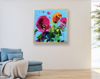 Colourful Flowers Oil Painting Original Art on Canvas Flowers Wall Art Floral Art Square Artwork Modern Home Decor for bedroom Girls Gifts