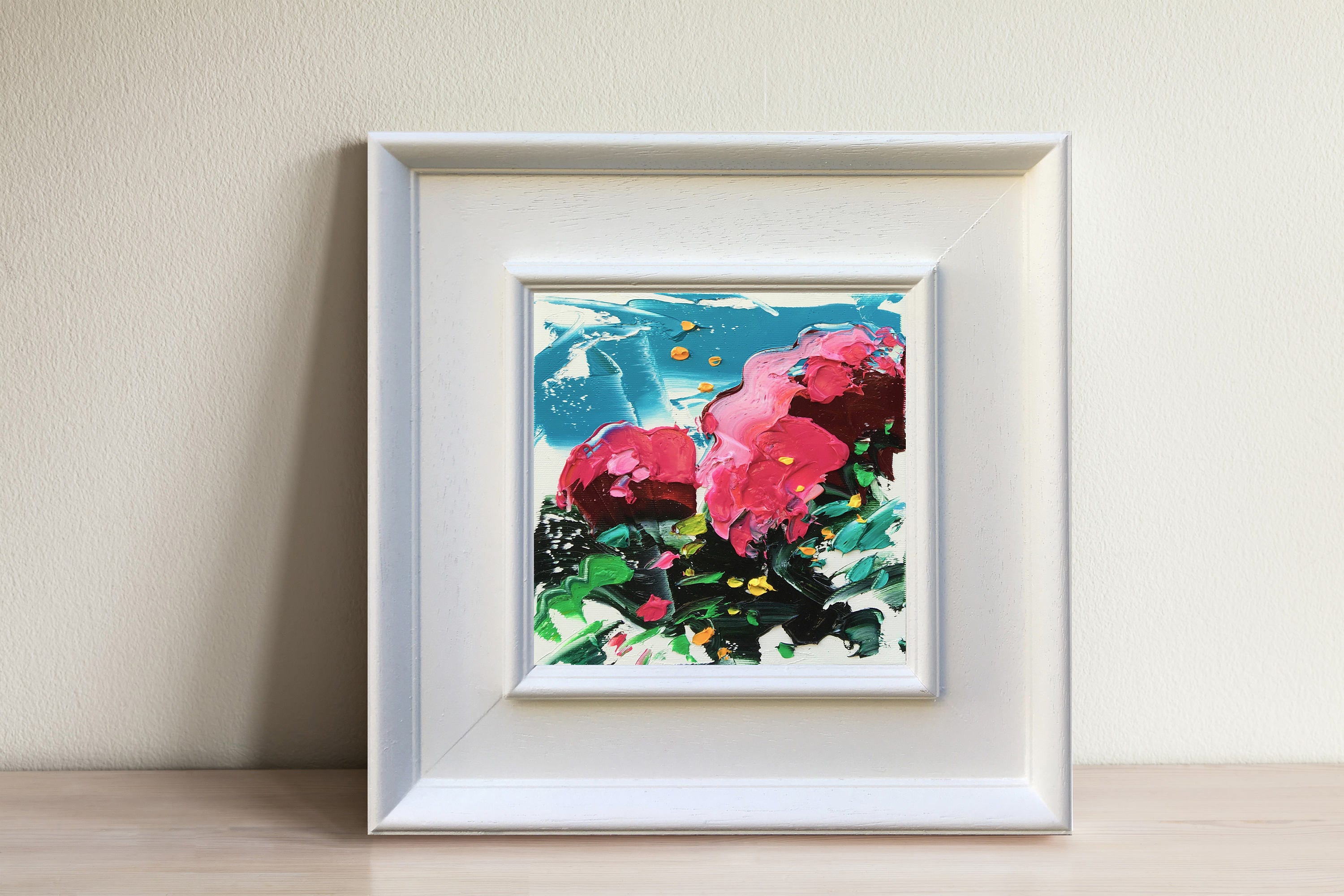 Pink Flowers Painting Oil Painting On Canvas Framed Small Etsy