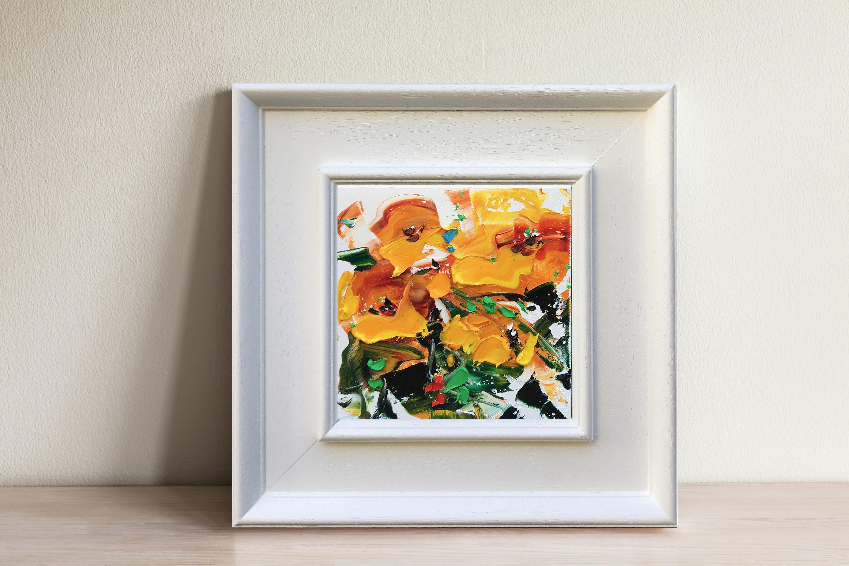 Gelben Blumen Malerei abstrakten Kunst Blumen Blumen | Etsy