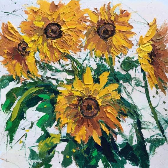 Malerei auf Leinwand 40 Original Blumen Sonnenblumen | Etsy