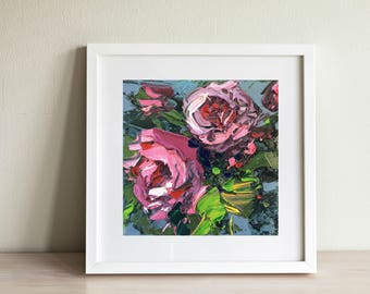 Pink Roses Painting - Abstract Flowers Oil Painting - Romantic Art- Modern Flowers Canvas Wall Art for Bedroom - Mother's day Gifts for Her