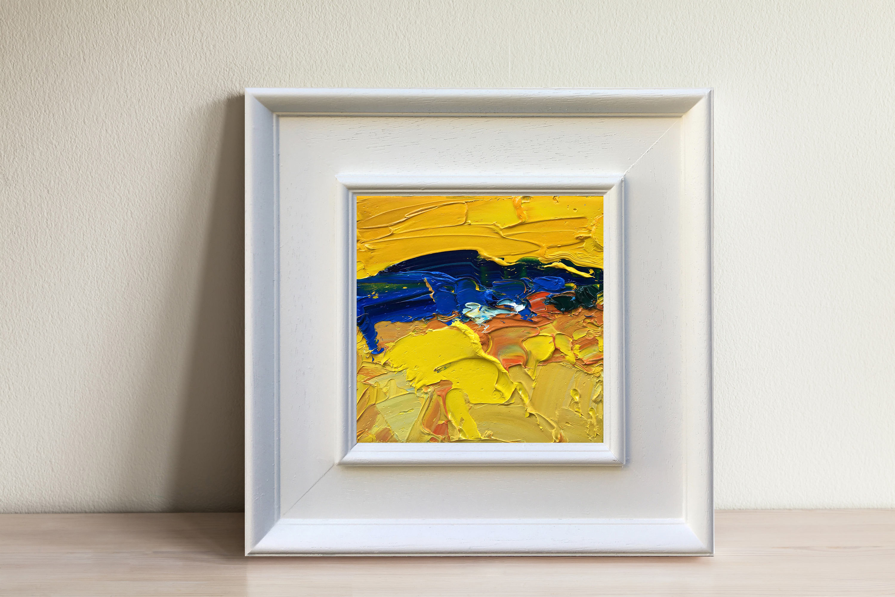 Yellow Abstract Art Impasto Oil Painting Yellow Blue Painting | Etsy
