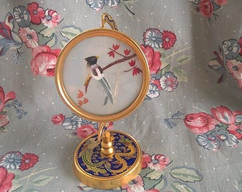 Vintage Silk Bird Under Glass With Brass Spinning Display
