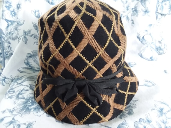 Antique Embroidered Cloche Hat