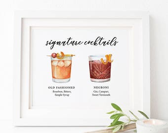 Hand Drawn Custom Signature Drinks Sign, Minimalist Signature Drinks Sign, Winter Wedding, Custom Watercolor, Personalized Painting