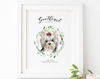 Custom Pet portrait, custom dog portrait, Watercolor dog illustration, personalized sign with dog portrait, custom dog picture, dog painting